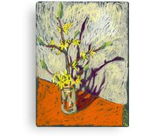 Bush branch with yellow flowers. Spring Canvas Print