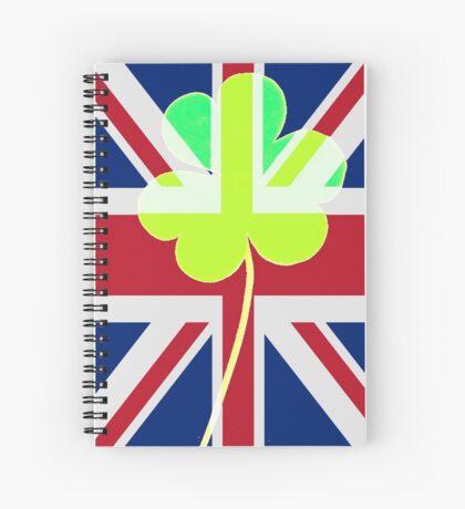 Irish Shamrock Clover United Kingdom Ireland Funny St. Patrick Flag Spiral Notebook
