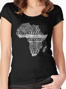 Patterned Map of Africa  Women's Fitted Scoop T-Shirt