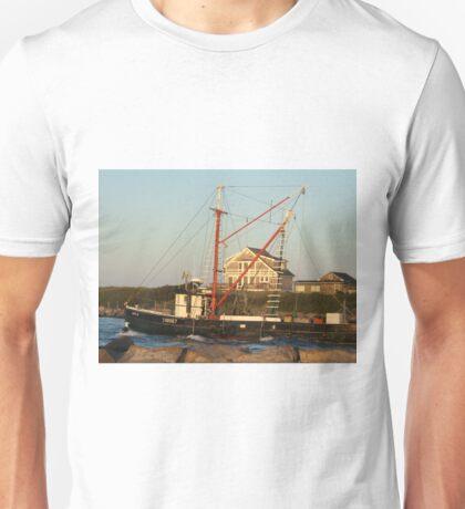 Galiee, rhode island beach fishing boat leaving Unisex T-Shirt
