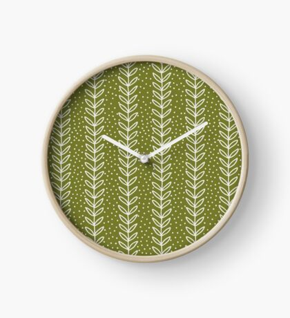 simple green leaf seamless pattern Clock