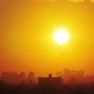 Tangerine sunset over New York City  by Alberto  DeJesus
