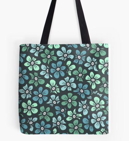 Green seamless flower doodle pattern Tote Bag