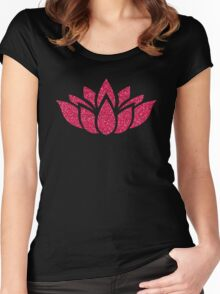 Pink Glitter Lotus Flower Women's Fitted Scoop T-Shirt