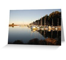 Boats in a harbor Greeting Card
