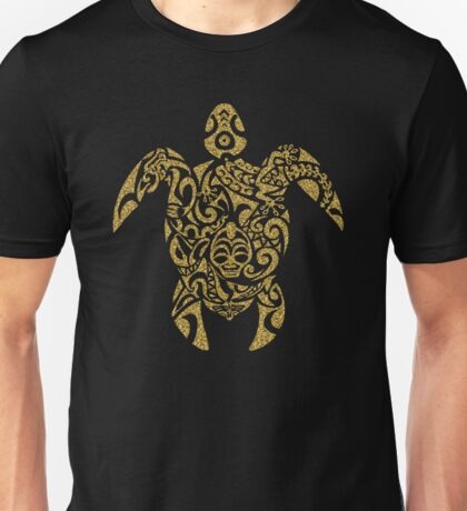 Gold Glitter Tribal Turtle Unisex T-Shirt