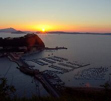 Sunset at Parco Virgiliano with a view on Nisida Island and the entire Baia coast (Naples, Italy) by Rachel Veser