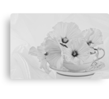 Lavatera Flowers In Tea Cup - Still Life Canvas Print