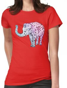 Floral Elements Elephant Womens Fitted T-Shirt