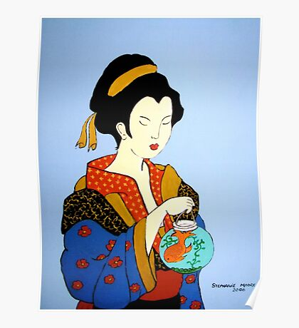 Geisha with Fish Poster