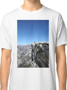 Climbing Half Dome rock at Yosemite national Park, California USA Classic T-Shirt