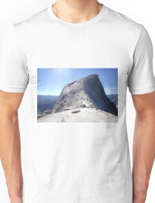 Climbing Half Dome rock at Yosemite national Park, California USA Unisex T-Shirt
