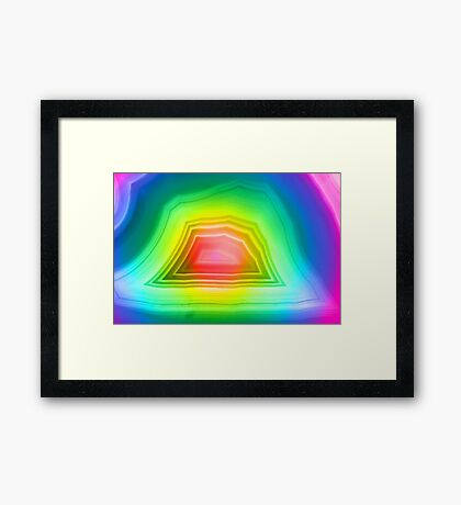 Radiant rainbow colors agate slice mineral Framed Print
