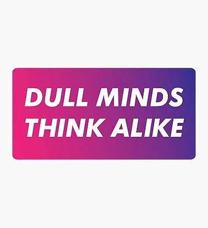 Dull Minds Think Alike Photographic Print