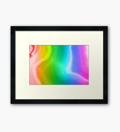 Rainbow colors agate slice mineral Framed Print