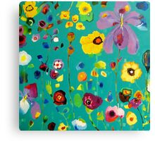 Bloom field - Turquoise Canvas Print