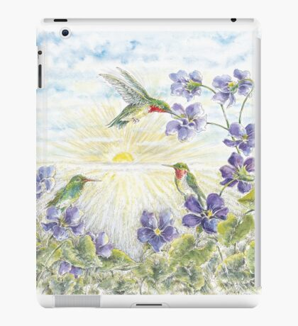 The Hummingbirds with the Violets  iPad Case/Skin
