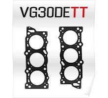 VG30DETT Nissan Engine Head Gasket Design - light background Poster
