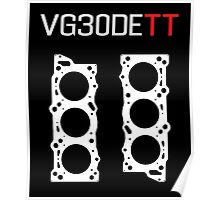 VG30DETT Nissan Engine Head Gasket Design - dark background Poster