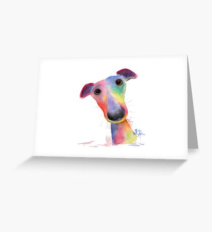 NOSEY DOG 'HANK' BY SHIRLEY MACARTHUR Greeting Card