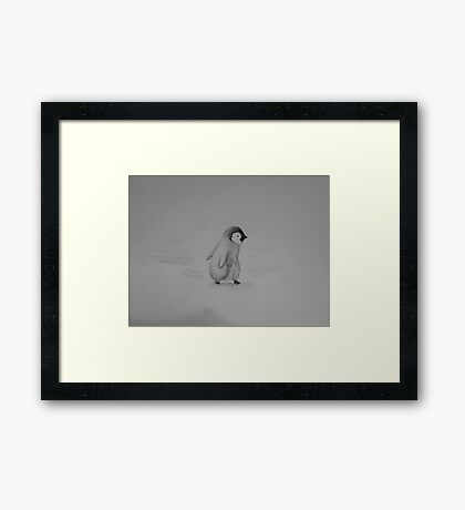 Baby Penguin Black and White Watercolor Framed Print