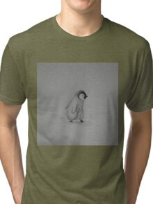 Baby Penguin Black and White Watercolor Tri-blend T-Shirt
