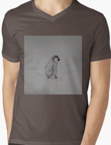 Baby Penguin Black and White Watercolor Mens V-Neck T-Shirt
