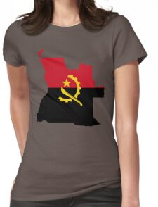 Angola Flag Map Womens Fitted T-Shirt