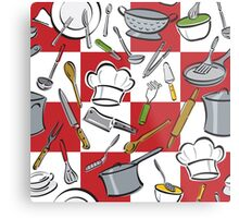 Kitchen Tools Checkerboard Metal Print
