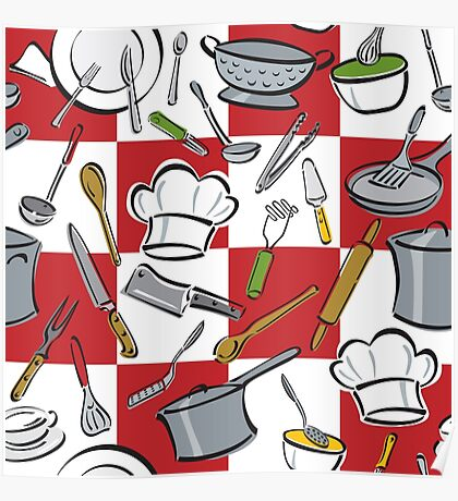 Kitchen Tools Checkerboard Poster