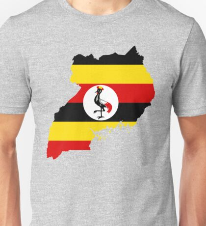Uganda Flag Map Unisex T-Shirt