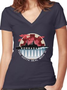 Korrasarmy: You Gotta Deal With It! (Dark Colors) Women's Fitted V-Neck T-Shirt
