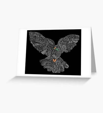 Typographic Peace Dove (black) Greeting Card