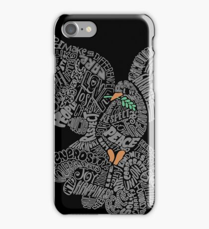 Typographic Peace Dove (black) iPhone Case/Skin