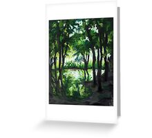 Spring landscape with green trees and lake Greeting Card