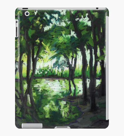 Spring landscape with green trees and lake iPad Case/Skin