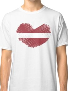 Love Latvia Scribble Flag Heart Classic T-Shirt