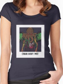 Cthulhu Doesn't Tweet - White Women's Fitted Scoop T-Shirt