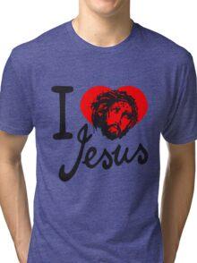 i love liebe herz gestorben sünden jesus king of kings spruch text logo design cool könig der könige heilig christus  Tri-blend T-Shirt