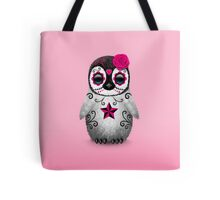 Pink Day of the Dead Sugar Skull Penguin  Tote Bag