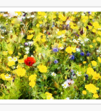 Poppy in wildflowers Sticker