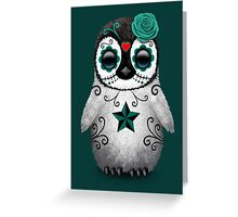 Teal Blue Day of the Dead Sugar Skull Penguin  Greeting Card