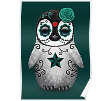 Teal Blue Day of the Dead Sugar Skull Penguin  Poster