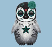 Teal Blue Day of the Dead Sugar Skull Penguin  Kids Tee