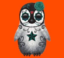 Teal Blue Day of the Dead Sugar Skull Penguin  Kids Clothes