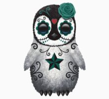 Teal Blue Day of the Dead Sugar Skull Penguin  One Piece - Short Sleeve