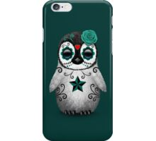 Teal Blue Day of the Dead Sugar Skull Penguin  iPhone Case/Skin