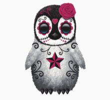 Pink Day of the Dead Sugar Skull Penguin  One Piece - Short Sleeve