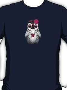 Pink Day of the Dead Sugar Skull Penguin  T-Shirt