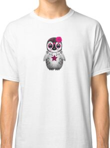 Pink Day of the Dead Sugar Skull Penguin  Classic T-Shirt